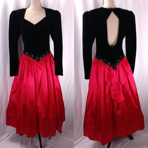 Vtg Scott McClintock Open Back Prom Dress Gothic